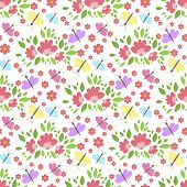 Floral Pattern Vector Seamless Background With Flowers Gentle Spring Flora Wallpaper Textile Design  poster