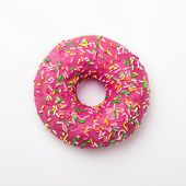 Purple Donut In Glaze On A White Background. Great Fresh Tasty Purple Donut Drizzled With Glaze poster