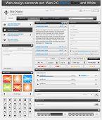 Web Design Elements Set 2. Black And White