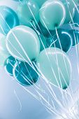 Blue air balloons background, big bunch of a helium balloons, happy birthday celebration, surprise f poster