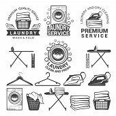 Monochrome Labels Of Laundry Service. Illustrations Of Washing Machines. Service Machine Wash, Hange poster