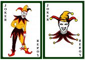 Joker In Colorful Costume Playing Card Illustration poster