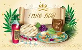 Happy Passover Holiday - Translate From Hebrew Lettering, Greeting Card With Decorative Vintage Flor poster