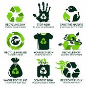 Flat Icon Set For Eco Friendly Recycling, The Drop Shadow Contains Transparencies, Eps10 poster