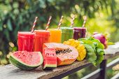 Rainbow From Smoothies. Watermelon, Papaya, Mango, Spinach And Dragon Fruit. Smoothies, Juices, Beve poster