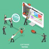 Software Testing Flat Isometric Vector Concept. People Are Taking Off The Web Page That Looks Like P poster