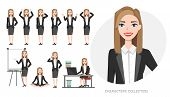 Set Of Emotions And Poses For Business Woman.young Girl In Office Suit Experiences Different Emotion poster