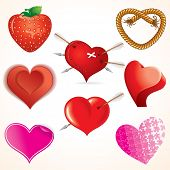 Collection of detailed vector heart icons, stylized symbols for your romantic design