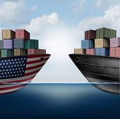 American Trade War Tariffs In The United States As Two Opposing Cargo Ships As An Economic  Taxation poster