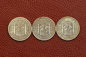 five pesetas spain old coins Alfonso XII Carlos III Ioseph Napoleon