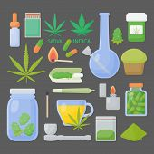 Marijuana Or Cannabis Vector Flat Icon Set, Big Collection Of Flat Design Of Medical Cannabis Or Smo poster