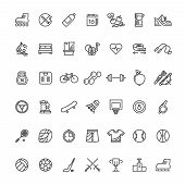 Sports Fitness Outline Symbols. Sports Equipment Thin Line Vector Icons. Sport And Fitness Equipment poster