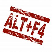 picture of f4  - Stylized red stamp showing the term ALT F4 - JPG