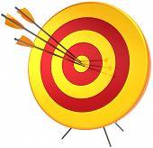 Ziel-Erfolg mit drei Pfeilen treffen