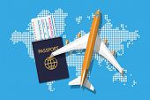 Airplane Top View. Passenger Or Commercial Jet, Boarding Pass And Passport. World Map In Dots. Carto poster