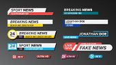 Tv News Bars Set Vector. Sign Of Lower Third. Live News, Ultra Hd. Banners For Broadcasting Televisi poster