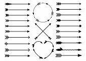 Hipster Arrows. Arrows In Boho Style. Criss Cross Tribal Arrows. Circle And Heart Monograms. Set Of poster
