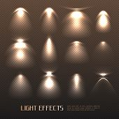 Set Of Light Effects Of Various Intensity From Electric Lamps On Transparent Background Isolated Vec poster