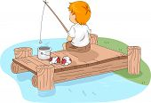 Illustration of a Kid Fishing