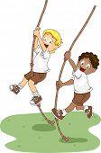 Illustration of Kids Holding on to Swinging Ropes