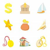 Material Welfare Icons Set. Cartoon Set Of 9 Material Welfare Vector Icons For Web Isolated On White poster