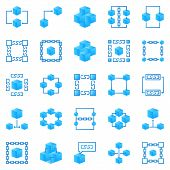 Blockchain Colorful Icons. Vector Bright Block Chain Creative Signs Or Logo Elements. Block, Cube An poster