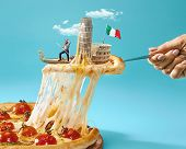 Taste Italy Concept. The Collage About Italy With Female Hand, Gondolier, Pizza And Major Sights. Tr poster