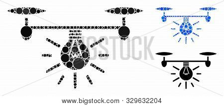 poster of Copter Illumination Composition Of Round Dots In Variable Sizes And Color Tints, Based On Copter Ill