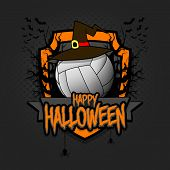 Halloween Pattern. Volleyball Logo Template Design. Volleyball Ball In A Hat On A Background Of Spoo poster