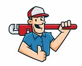 Plumber Mascot, Plumber Character, Worker Cartoon Happy poster