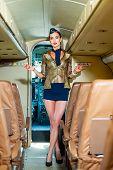 Plane Travel. Charming Stewardess. Portrait Of Charming Stewardess Wearing In Blue Uniform. Aviation poster