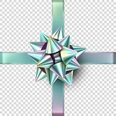Vector Christmas Foil Realistic Bow. Isolated Gift Bow With Ribbons poster