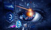 Abstract high tech eye concept poster