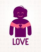 Love Arms Hugging Lover Shows Heart Shape Gesture Hands, Lover Woman Hugging Her Mate And Shares Lov poster