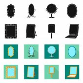 Vector Illustration Of Reflect And Piece Icon. Set Of Reflect And Furniture Vector Icon For Stock. poster