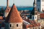 Tallinn, Estonia. Part Of Tallinn City Wall. Nuns Tower Nunnatorn, Sauna Tower Saunatorn, Golden Leg poster