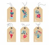 Set Of Hand Drawn Doodle Scandinavian Christmas Element Tags. Collection Merry Christmas Vector Gift poster