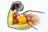 Foods To Increase Male Hormone Testosterone And Increase Virility And Biceps. Products For Mens Hea poster