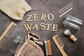 Zero Waste. Bath And Home Accessories. Cotton Bag, Glass Jar, Wooden Comb, Wooden Shaving Brush, Cut poster