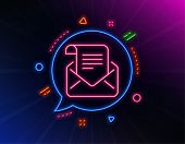 Mail Newsletter Line Icon. Neon Laser Lights. Read Message Correspondence Sign. E-mail Symbol. Glow  poster