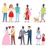 Robot Humanoid Family Helpers People Vector Robotic Man Futuristic Woman Character In Love Cyberneti poster