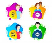 Today Offer Symbol. People Shape Offer Badge. Special Sale Price Sign. Advertising Discounts Symbol. poster