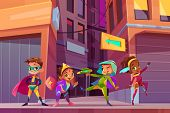 Superheros Children On City Street Cartoon Concept With Happy Smiling, Multiethnic Boys And Girls In poster