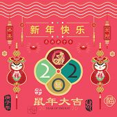 Red Chinese New Year 2020 Year Of The Rat Greeting Element. Chinese Calligraphy translation Rat Year poster