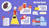 Flyer Infographic It Is Written, Nursing Home. An Elderly Woman Pensioner In Dress Goes Towards Nurs poster