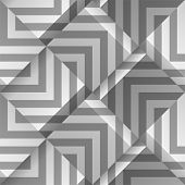 Light Gray Seamless Geometric Pattern. Volume Cubes With Strips. Vector Template For Print Design, W poster