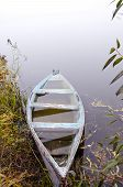 Sunken Wooden Boat With Water Stand On River Shore