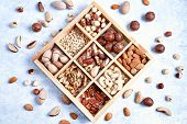 Assortment Of Nuts In A Wooden Box, On A Blue Background. Pecans, Hazelnuts, Almonds, Pine Nuts, Bra poster