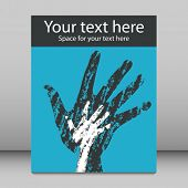 Textured overlapping hands leaflet or flier design.