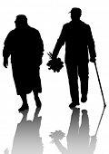 Dibujo de una pareja de ancianos caminar vectorial